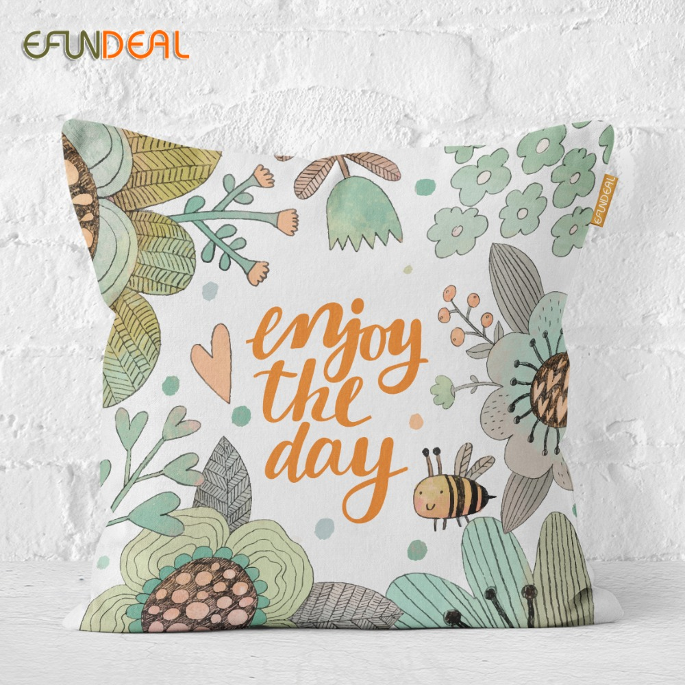 Home Decorative Cushion Cover Throw Pillow Case For Sofa Couch Bed Chair Happy Gardon Floral Bunny Bear 45*45cm/60*60cm