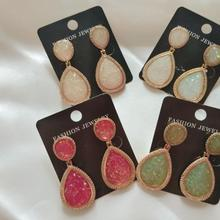Wholesale 5 Pairs Nature Stone Drop Earrings Fashion Elegant Jewelry 2019 Trendy Statement Dangle Earring Pendientes Mujer