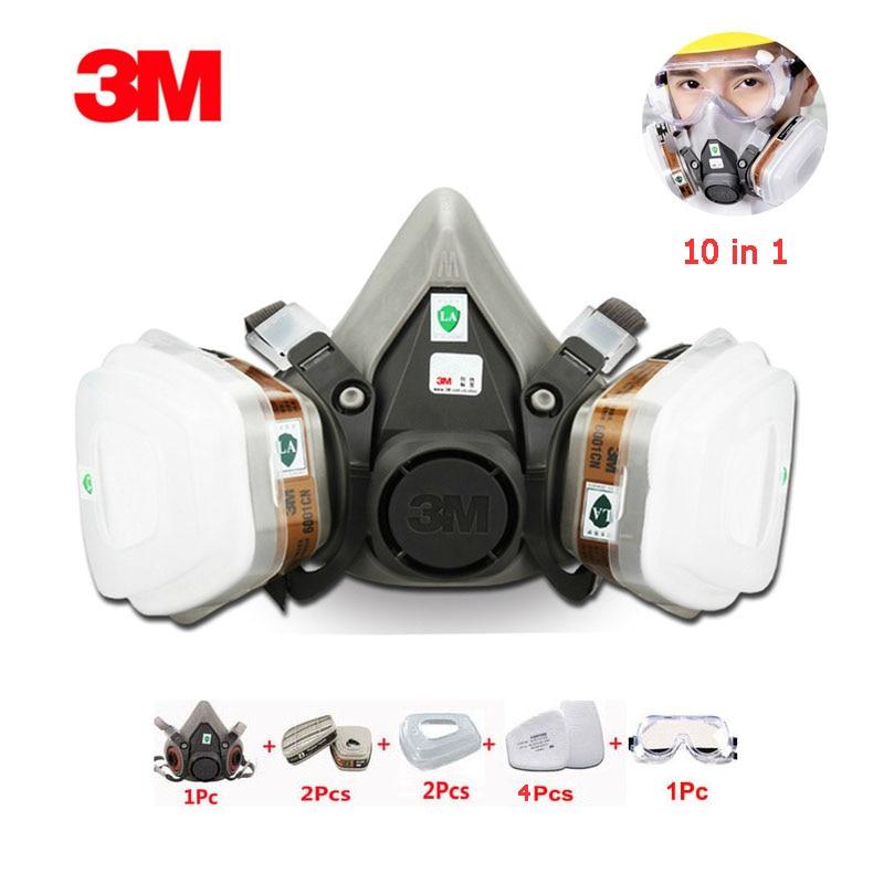 Kraftvoll 10-in-1 3m6200 Halbe Gesicht Maske Atemschutz Schutz Organische Gas Industrielle Spray Malerei Mit Pc Gläser Schutzhülle Gas Maske