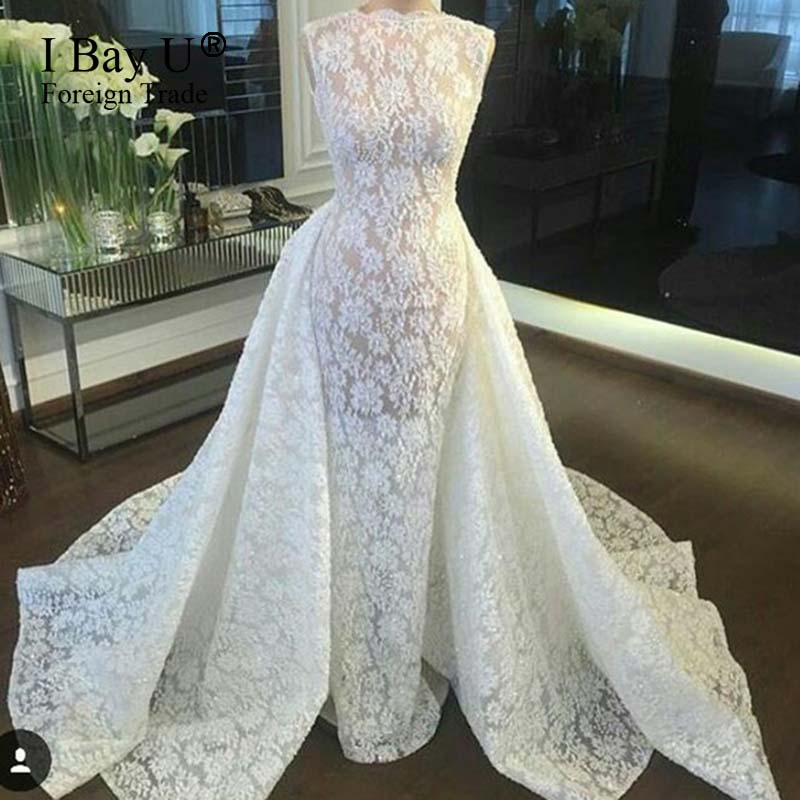 Arabic White Lace Mermaid Wedding Dresses With Removable Train 2019 New  Arrival Beading Formal Dresses Vestido. US  365.00. I Bay U ... 6663dd32d