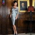 Мода Короткие матери Невесты Платья Аппликации Кружева Атласная Колен Женщины Вечернее Платье Партии Vestido Де Madrinha