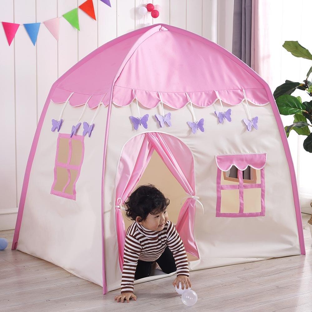 2 couleurs Playhouse enfants/bébé chambre grand espace enfants Wigwam Portable intérieur extérieur toile tipi tente jouet bébé tente lit J74