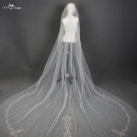 LZP027 Wedding Veil With Crystal Comb Embroidery Edge One Layer Veil
