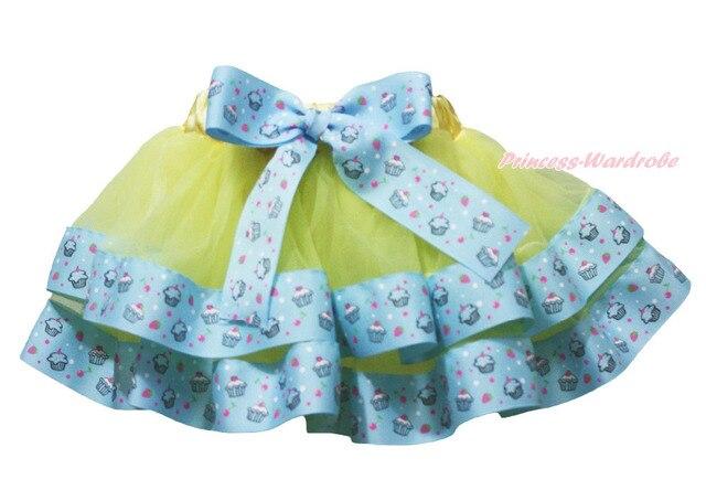 Yellow Birthday Cupcake Trimmed Tutu Dance Baby Girls Pettiskirt Skirt NB-8Y MADRE0075