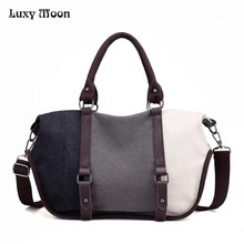 Luxy Moon Women Handbag Casual Large Canvas Tote Bag Fashion Patchwork Shoulder Bags Washable Bolsas