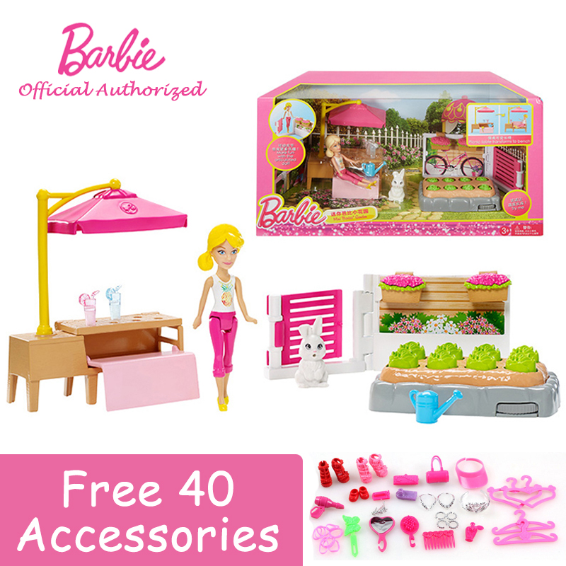 2017 Newest Series Collection Doll Mini Barbie Garden With Flowers and Rabbit Toy Barbie Boneca Mode FBH67 Free Shipping