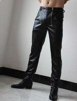 28 37! Новая мужская одежда штаны из натуральной кожи с двойной застежкой молнией, ботинки из воловьей кожи, джинсы, кожаные брюки, костюмы пев