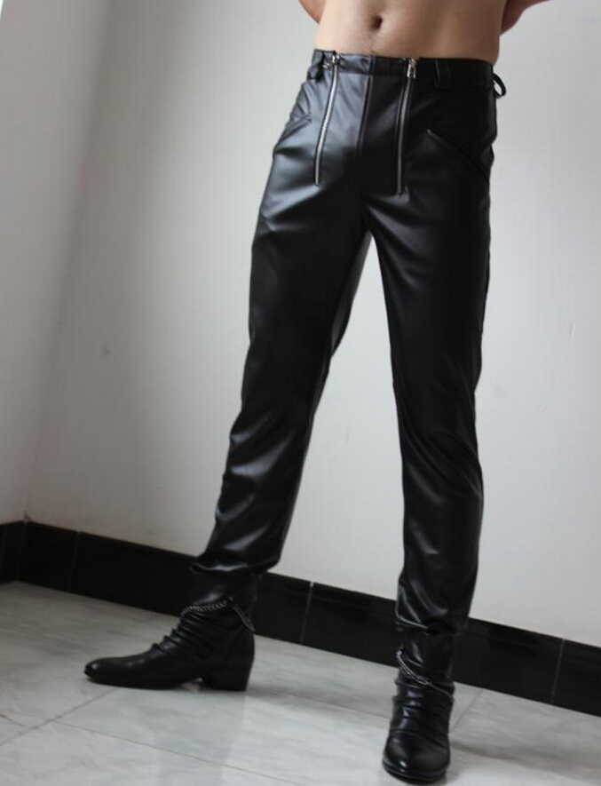 28-37 ! Mens new clothing Genuine leather pants double zipper s top cowhide boot cut jeans leather trousers singer costumes