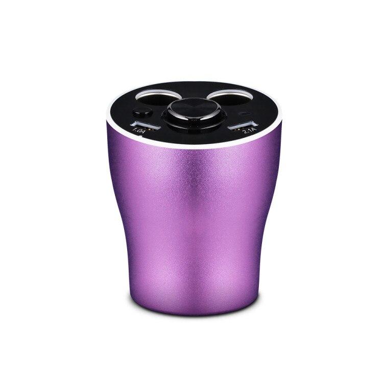 Multi fonction voiture chargeur support de verre double allume cigare prises adaptateur secteur 2 Ports USB avec Bluetooth sans fil écouteur - 6