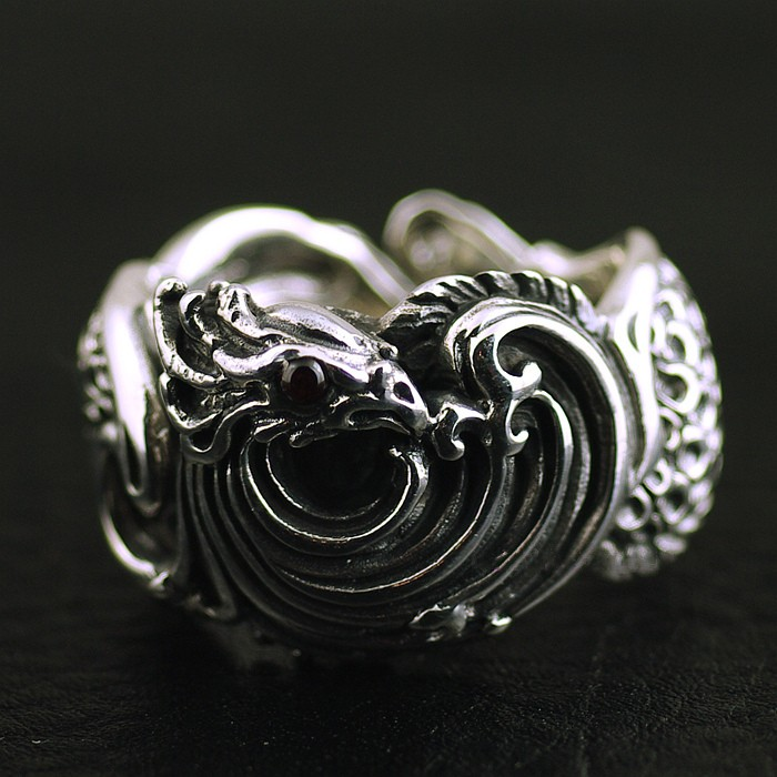 Silver rings Retro style ring Nirvana rebirth, phoenix Thai Silver Ring dark matter v 1 rebirth