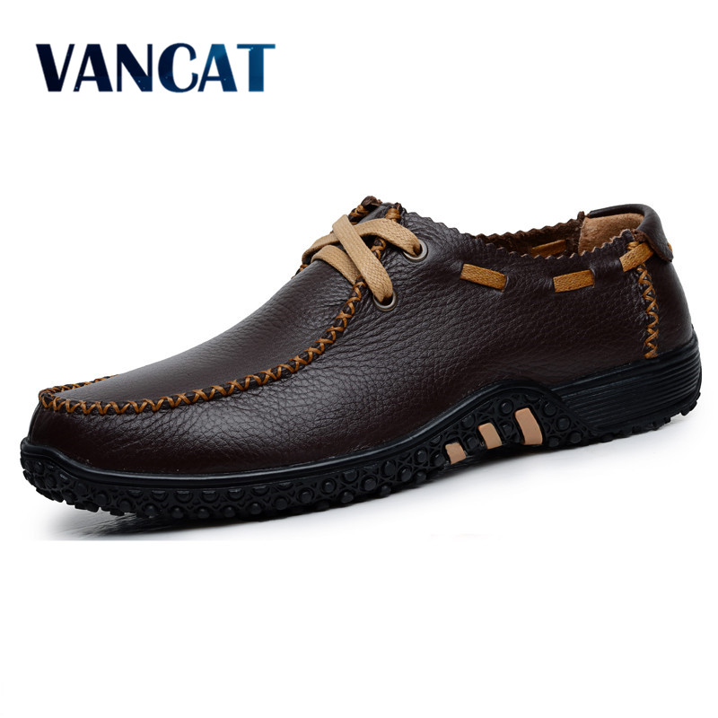VANCAT Casual Shoes For Men Luxury Brand Designer Men Shoes Spring Autumn Fashion Men Genuine Leather Shoes Men Shoes Moccasin new 2017 men s genuine leather casual shoes korean fashion style breathable male shoes men spring autumn slip on low top loafers