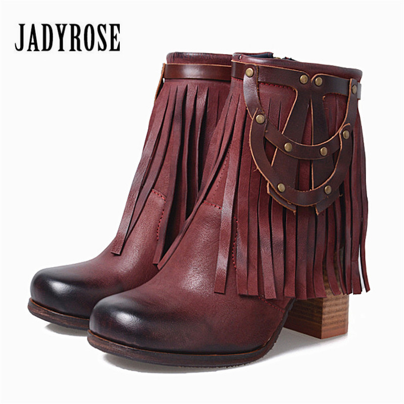 Jady Rose Fringed Women Ankle Boots Chunky High Heel Booties Genuine Leather Botas Mujer Rivet Tassels Martin Boots Women Pumps jady rose mixed color women ankle boots pointed toe chunky high heel booties suede lace up botas mujer women pumps