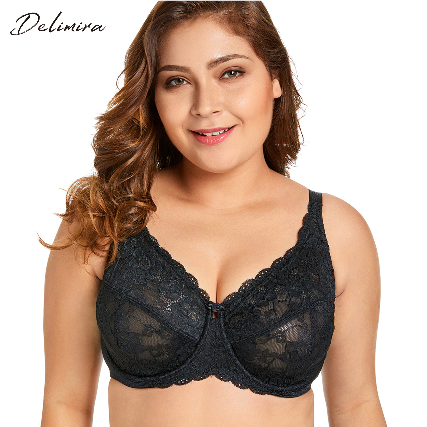 Delimira Womens Sheer Lace Full Figure Unlined Minimizer Bra ...