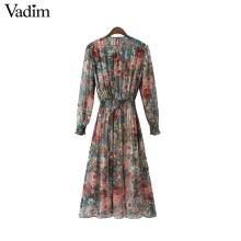 Vadim women floral chiffon dress two pieces set long sleeve elastic waist mid calf o neck casual brand dresses vestidos QZ3200
