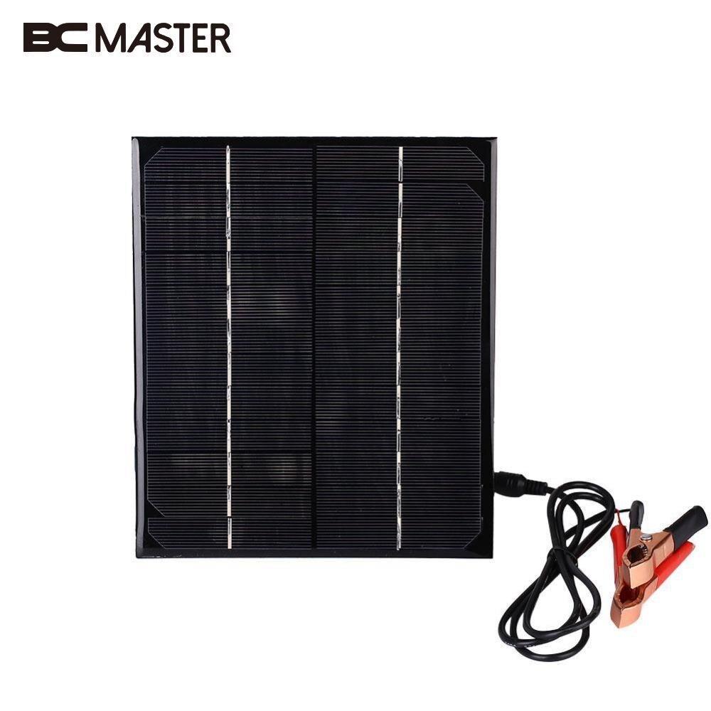 BCMaster 12 V 6 W Monocristalino Painel Solar Portátil Carregador de Bateria Para O Barco Do Carro Recarregável Power Battery w/Jacaré clipe