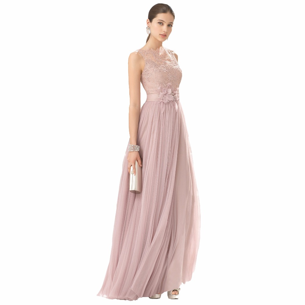 FNKS Cheap Bridesmaid Dresses Blush Color Tulle Lace Hand