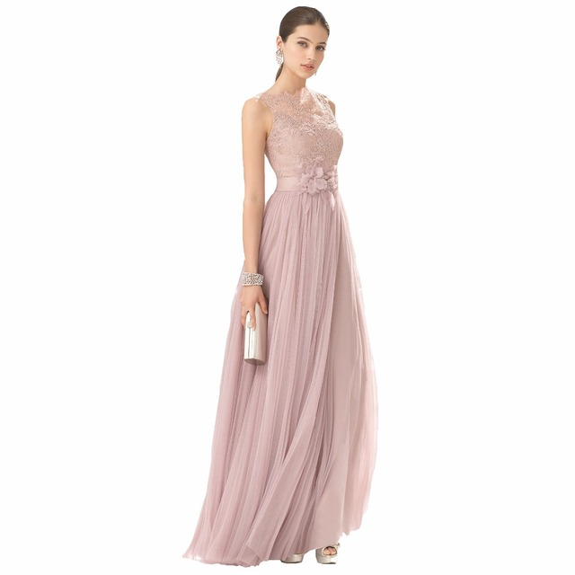 FNKS Cheap Bridesmaid Dresses Blush Color Tulle Lace Hand Made ...