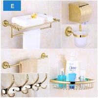 Luxury Golden Brass Bathroom Hardware Hanger Set Package QT01 Towel Bar Rack Holder Paper Shelf Hook Brush Bathroom Accessories