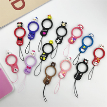 Cute cartoon phone strap Silicone Pendant Mobile Phone Straps Duck Hello kitty ring moblie for iphone 7 8 X Huawei