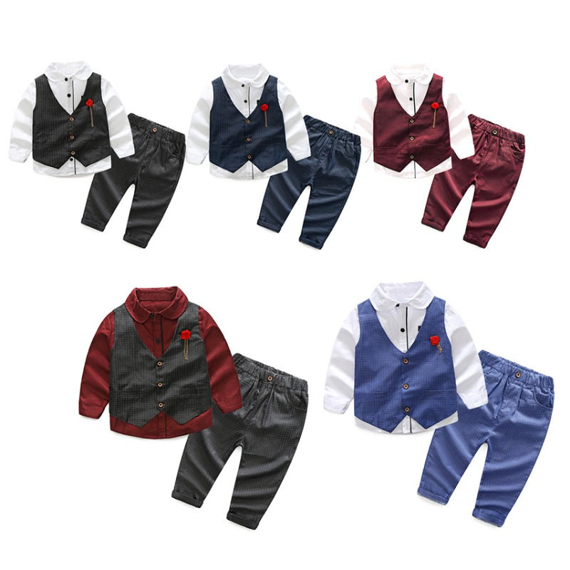 9012ff08aa0 3pcs Boys Solid Long-Sleeve Shirt+Full Pants+Vest Coat Clothing Sets Cotton  Formal Party Wedding Clothes Suit New Kids Sets