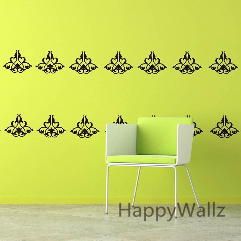 Art Damask Wall Sticker Decorative Flower Wall Decal Removable Wall ...