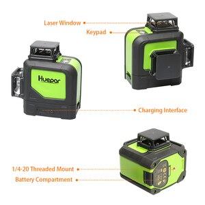 Image 4 - Huepar 12 satır 3D çapraz çizgi lazer seviyesi yeşil lazer işın kendinden tesviye 360 dikey ve yatay gözlük ve lazer alıcı
