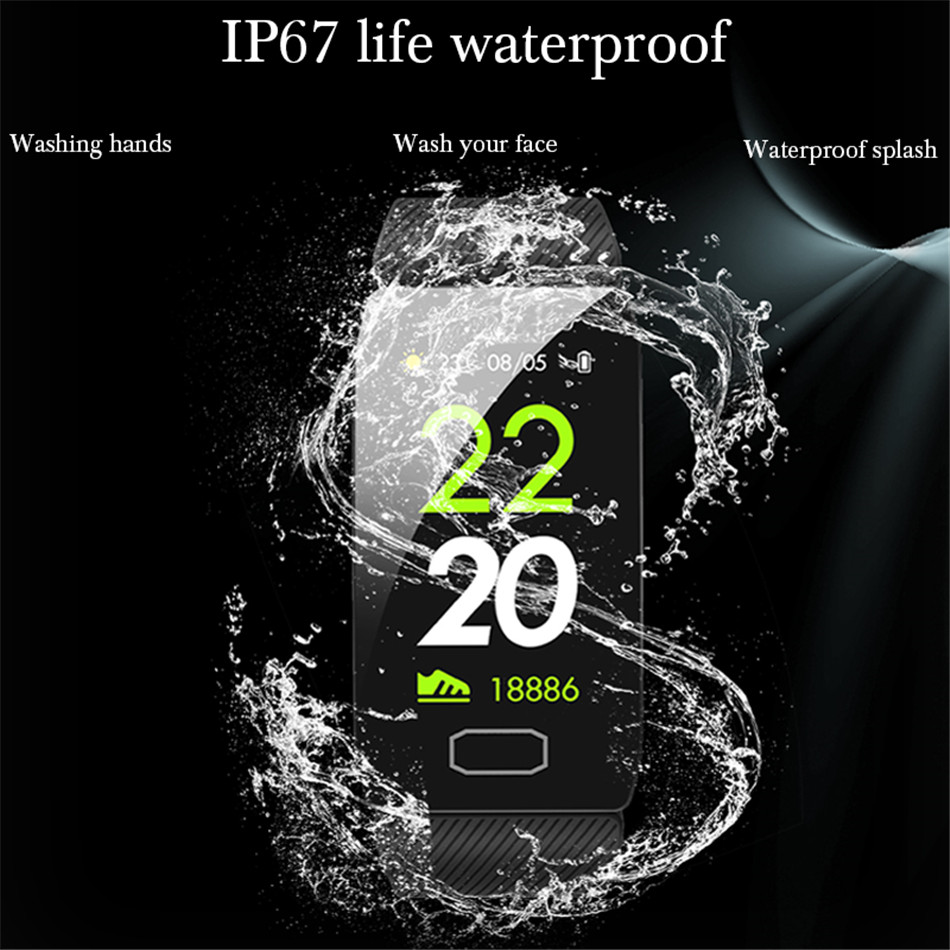 20119 LIGE New Smart Bracelet Women Men Heart Rate Blood Pressure Monitor High Brightness Colorful Screen Smart Watch Wristband in Smart Wristbands from Consumer Electronics