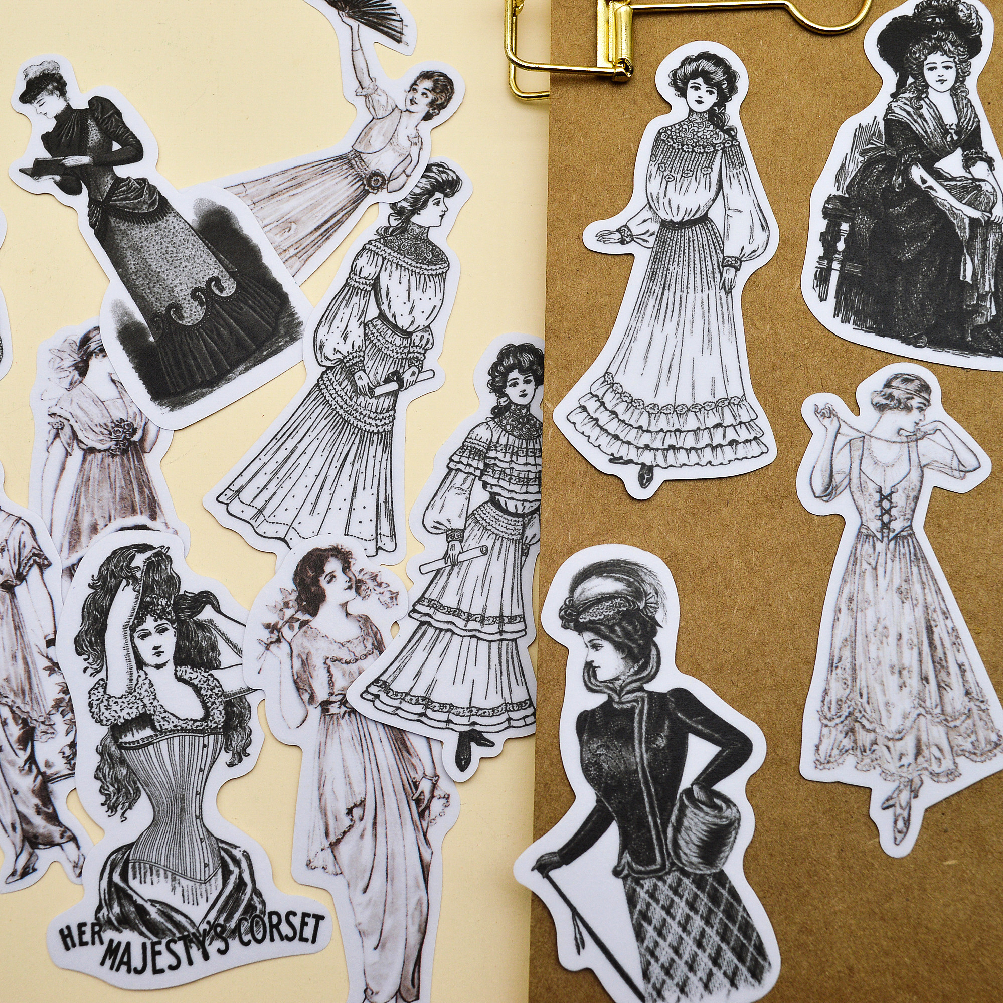 14pcs Hand Book Junk Journal Retro Madam Sticker Europe Lady  Sticker DIY Material Cute Diary Stationery Sticker