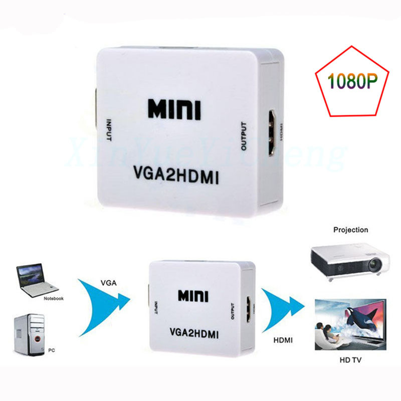 New-1080P-VGA-to-HDMI-Converter-Adapter-box-HD-For-PC-Laptop-DVD-With-3-5MM