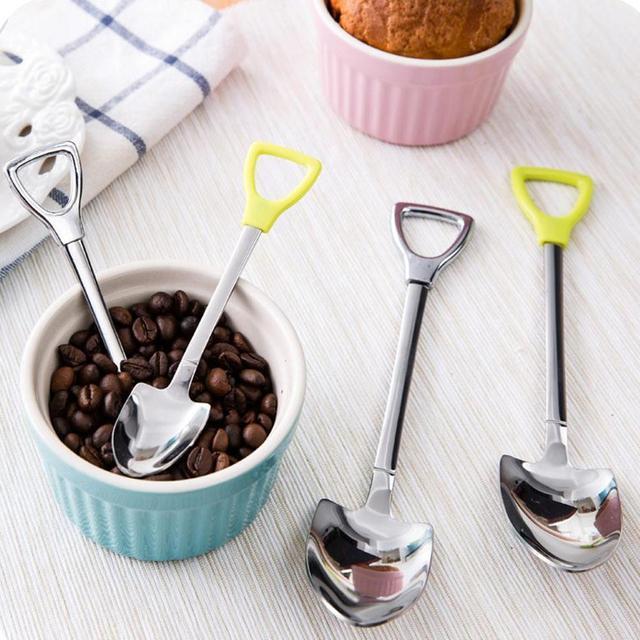 Новый Нержавеющей Стали Ложка S M Размер Лопатой Форма Дизайн Кофе Мороженое Суп Мед Ложка Длинной Ручкой Чайной Ложки для Детей