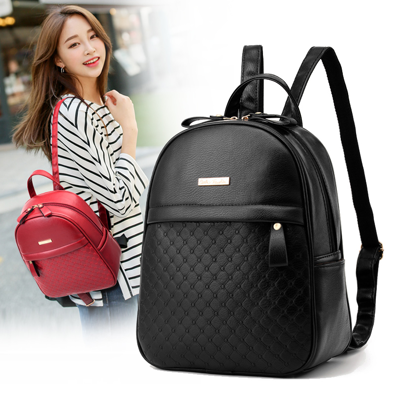 2017 Hot Sale Women Backpack PU Leather Plaid Fashion Mini Back Bag High Quality Back Pack