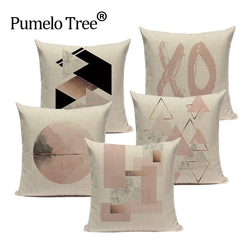 1989744b854 Estilo Simple funda para almohada geométrica cojín del sofá de 20x20,  18x18, 16x16, 24x24 Cm decorativo almohadas cojín cubierta cubiertas  personalizadas