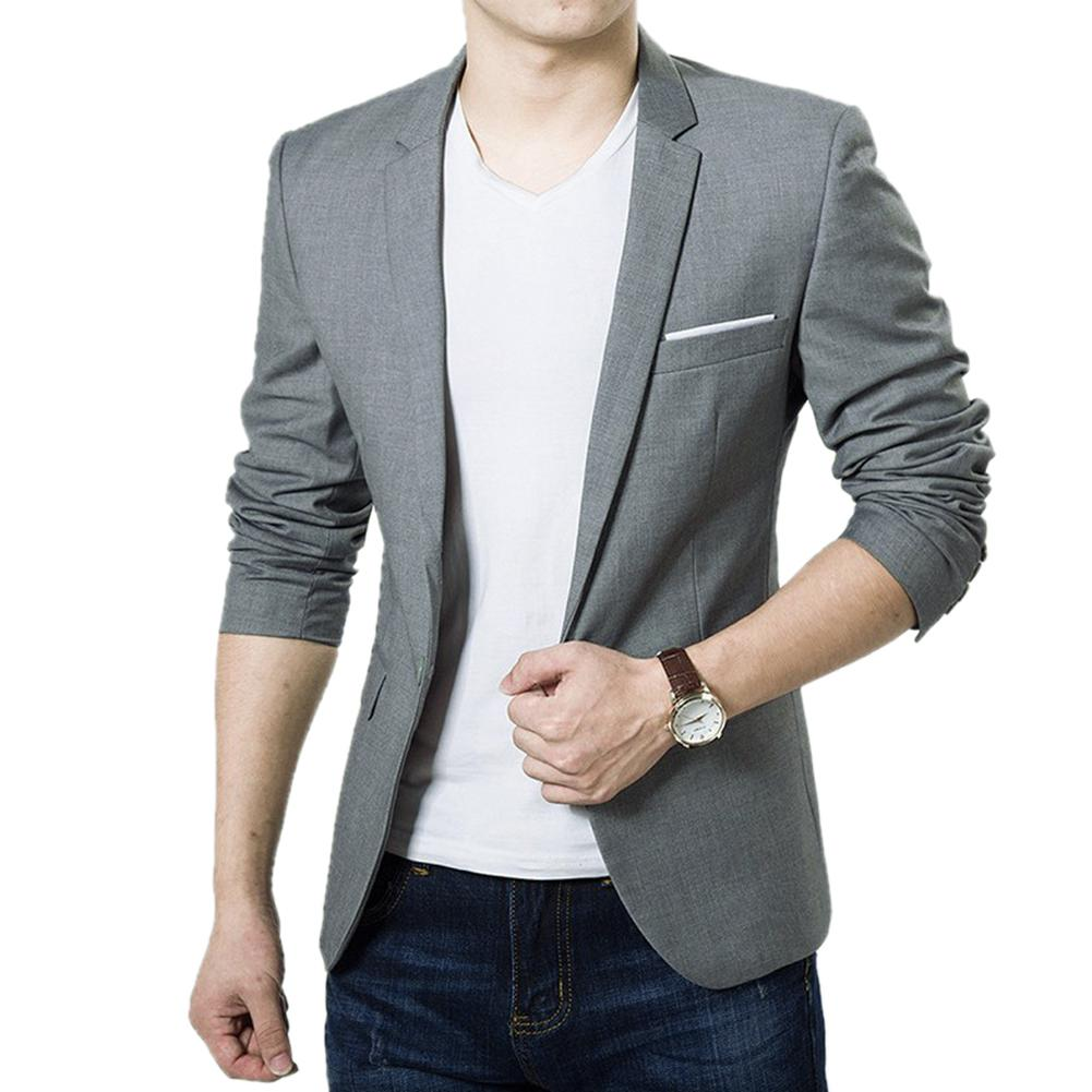 Suit Jacket Business Long-Sleeve One-Button Slim Male Formal Casual New-Fashion Pockets-Top