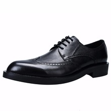Big Size British Men's Genuine Leather Retro Carved Business Dress Shoes Mens Lace-Up Pointed Toe Wide Breathable Bullock Shoes цена