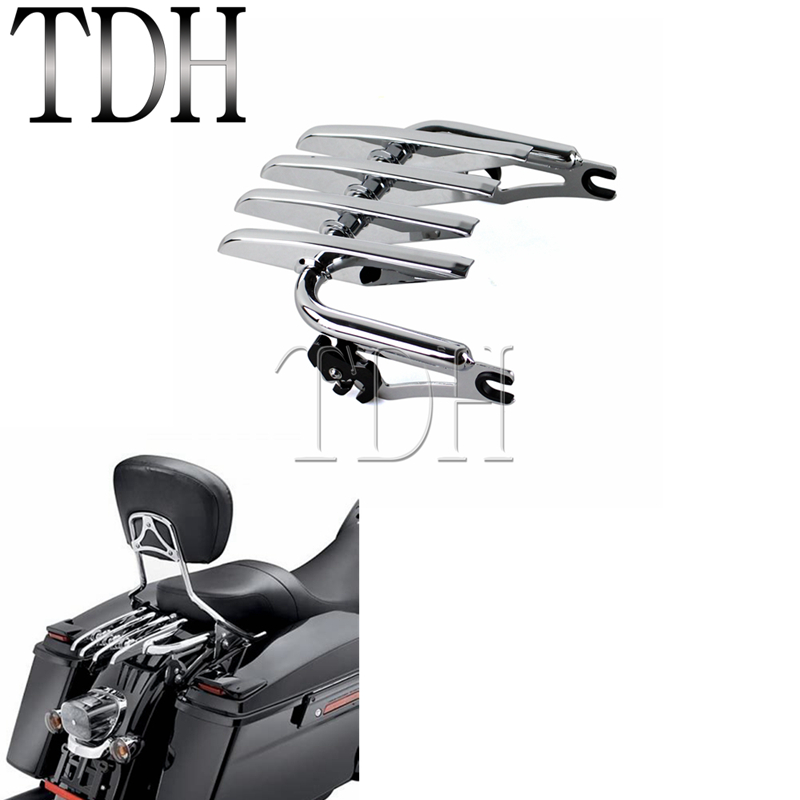 Chrome Detachable Stealth Luggage Rack For Harley Touring Road King Street Glide Classic Electra Custom FLHR FLTR 2009-2016Chrome Detachable Stealth Luggage Rack For Harley Touring Road King Street Glide Classic Electra Custom FLHR FLTR 2009-2016