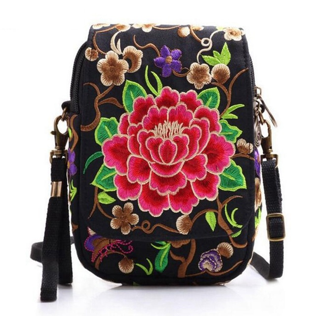 Ethnic Embroidery Bag Vintage National Embroidered Canvas Mobile Phone Small Coins Purse Bags Shoulder Sling Bags 4