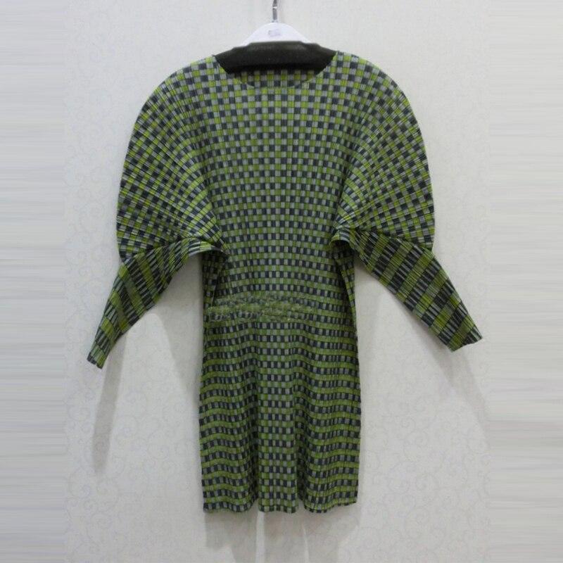 Taille Mode Femmes Lâche See cou Marée T shirt see 2018 Plaid Miyak Chauve T Changpleat Chart Manches Grande O Printemps shirts souris T98 Femelle Chart Plissée jLSzMUpVGq