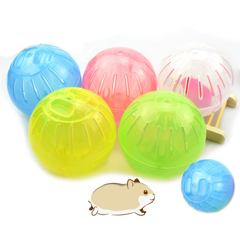 Hamster Exercise Ball Mini Jogging Travel Play Ball Toys Plastic Mute Run-About Ball for Gerbils Chinchillas Guinea Pigs Animals Blue
