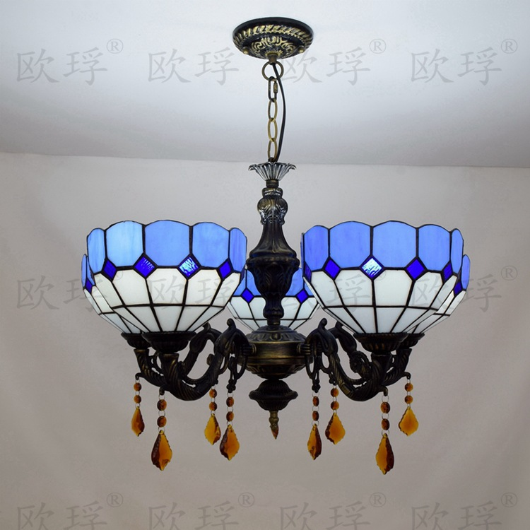 tiffany baroque mediterranean stained glass suspended luminaire e27 110 240v chain pendant. Black Bedroom Furniture Sets. Home Design Ideas