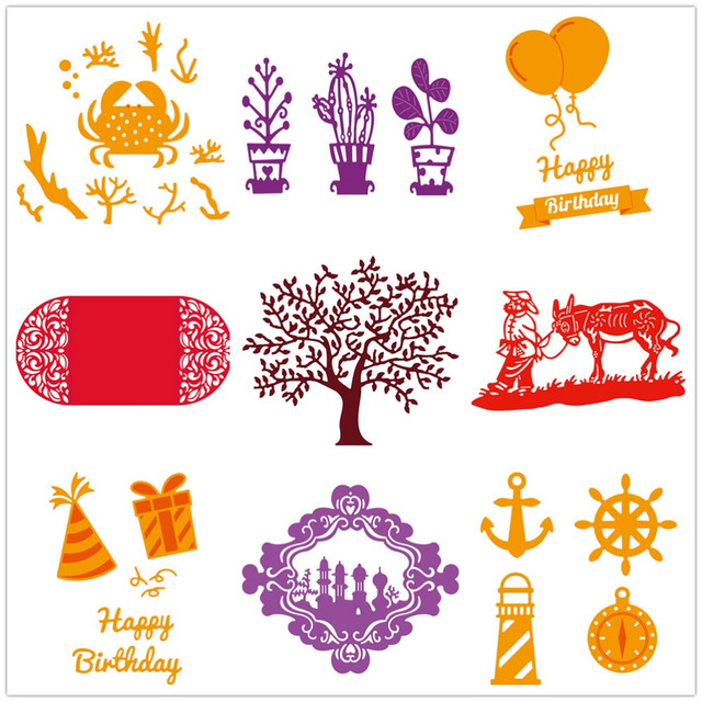 Gowing New 12 Style Festival Decoration Design Metal Cutting Die Stencil For DIY Scrapbooking Photo