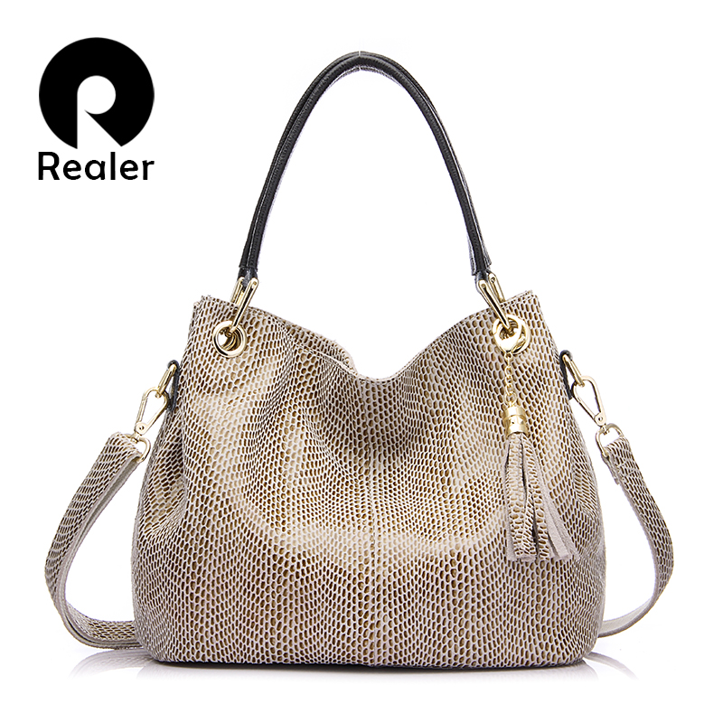 REALER brand handbag women genuine leather bag female hobos shoulder bags messenger high quality leather tote bag crossbody(China)