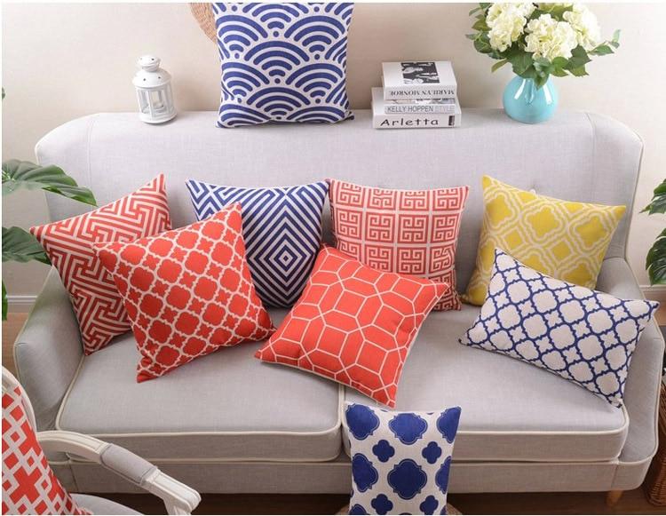 18 oriental geometric cotton linen cushion cover sofa decorative throw pillow car chair home decor