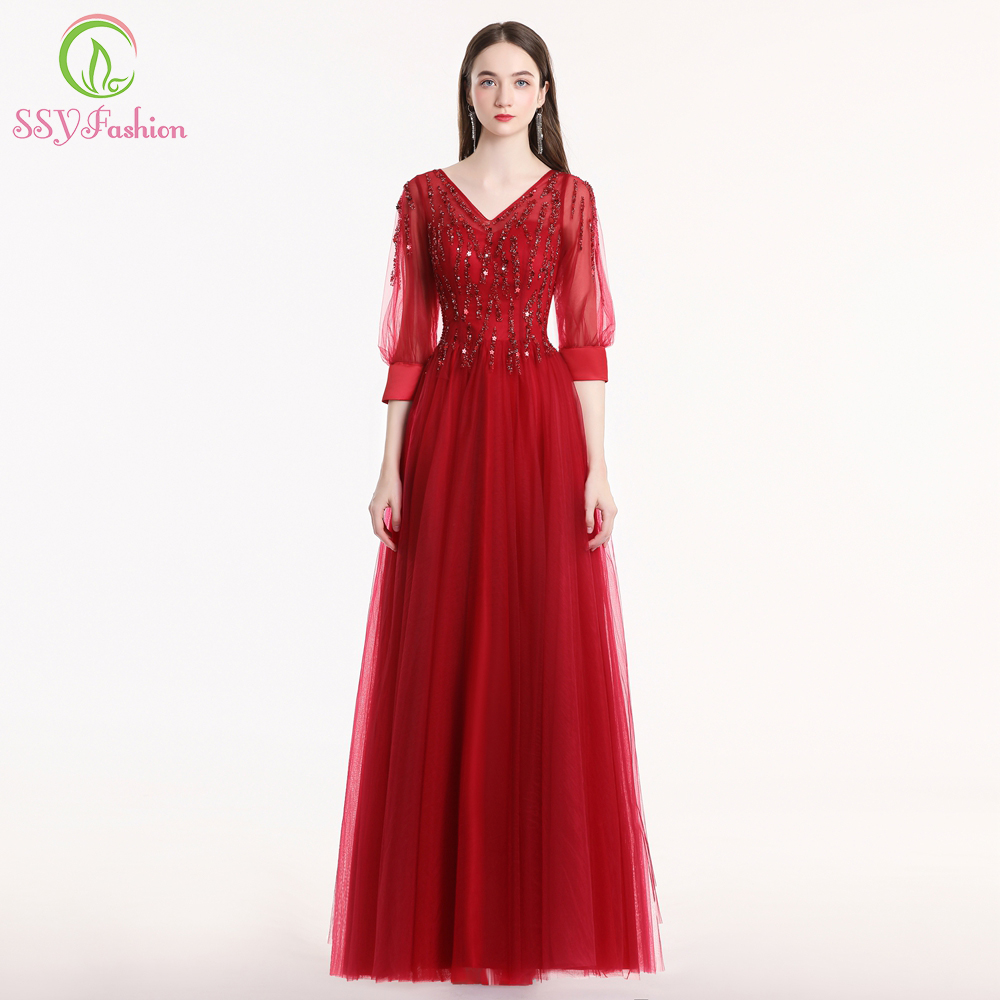 SSYFashion New Luxury Evening Dress Bride Elegant Burgundy Sequins Beading 3/4 Sleeve Formal Prom Gown Custom Robe De Soiree