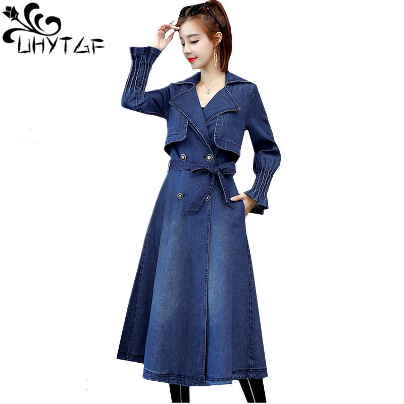 UHYTGF Autumn Denim   Trench   Coat for Women New Double-breasted Lace Jeans Windbreaker Long Outerwear Womens Slim Student Coat 829