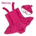 Suspendered Vestido Baby Girl Roupas para Nadar Maiô 2017 Verão Vestuário Rose Red Sling Vestido de Natação Da Criança 0-dois anos Um
