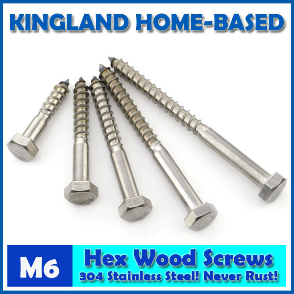 M6 DIN571 External Hex Head Self Tapping Wood Screws Stainless Steel Wood  Working Outdoor Repair Never Rust Lag Bolts