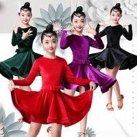 4 Colors Dress Dance Latin For Girls Children Long Sleeved Velvet Competition Dresses Salsa Ballroom Performance Outfit