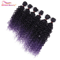 Curly Synthetic Hair Weave Bundles 14 18inch Ombre Color Purple Sewing In Hair Extensions 6pcs Pack
