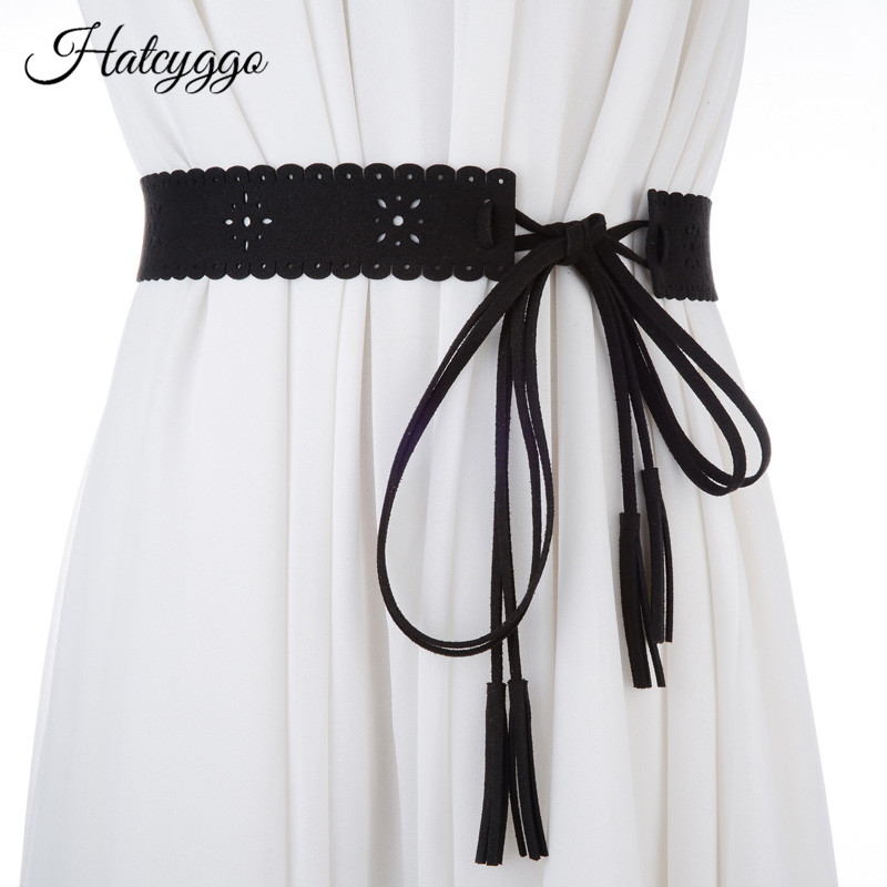 HATCYGGO Women Cummerbund Hollow Out String Waistband Brushed Leather Corset Belt Lady Tassel Bowknot Wide Belts Accessories