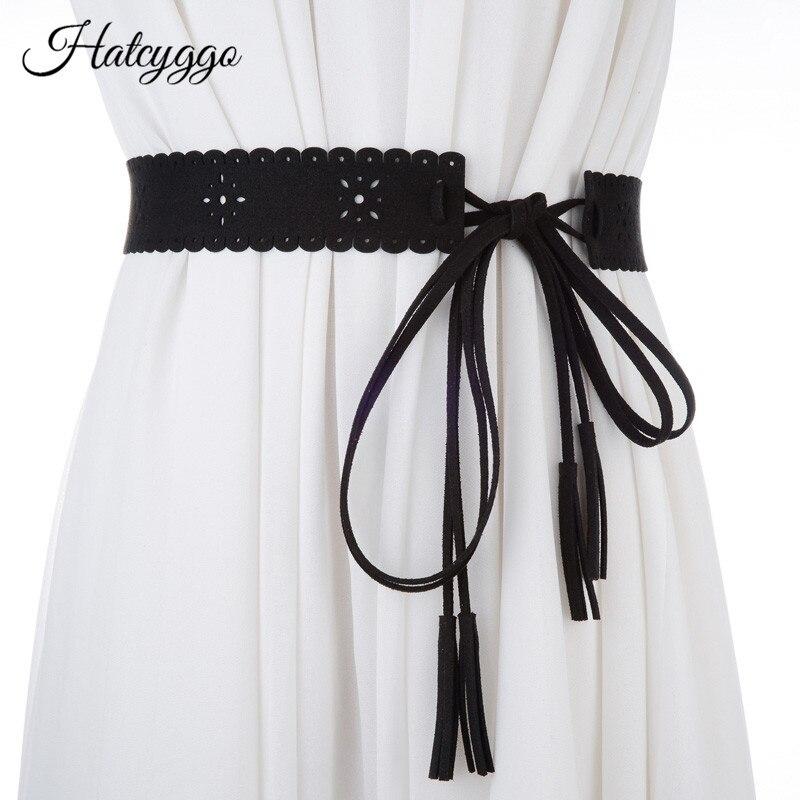 HATCYGGO Women Cummerbund Hollow Out String Waistband Brushed Leather Corset Belt Lady Tassel Bowknot Wide Belts Accessories